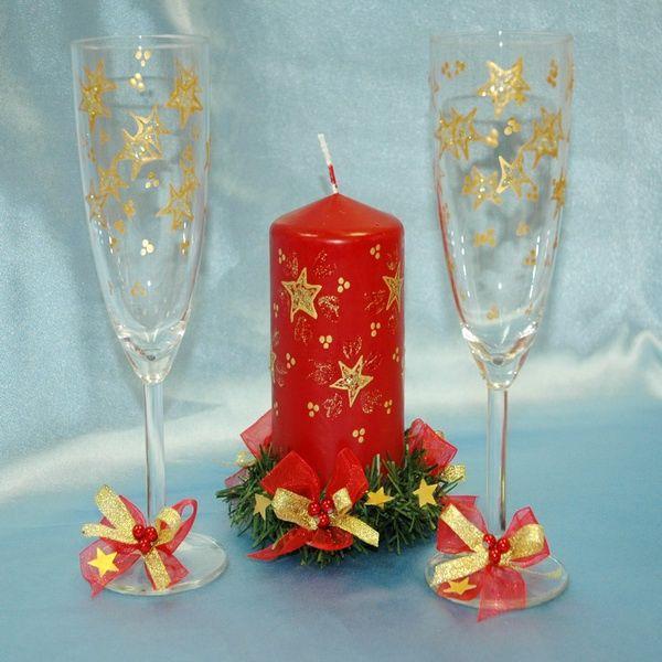 Как украсить бокалы к Новому году