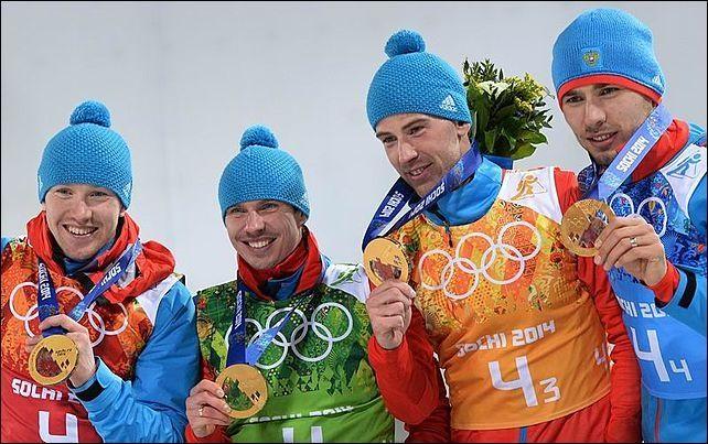 Мужская сборная по биатлону взяла золото в эстафете