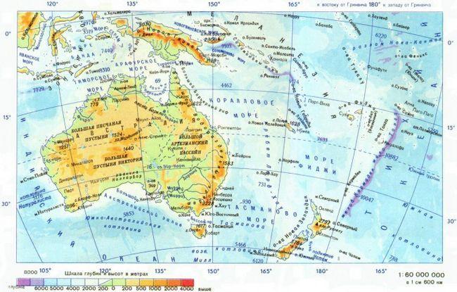 Как определить абсолютную высоту гор и равнин по физический карте?