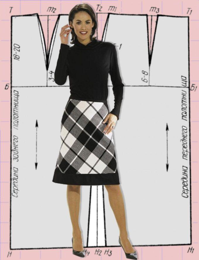 Как выкроить юбку